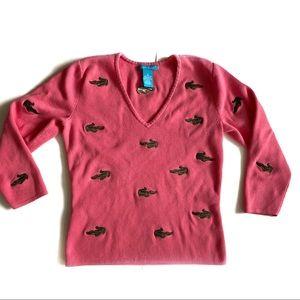 Alexandra Bartlett Pink Alligator Sweater - S